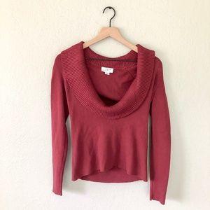 LOFT by Ann Taylor Burgundy Cowl Neck Sweater
